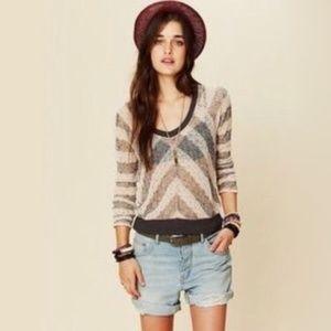 We The Free Grey Cream Chevron knit sweater XS